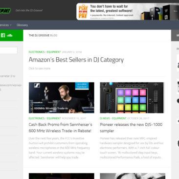 screenshot of website